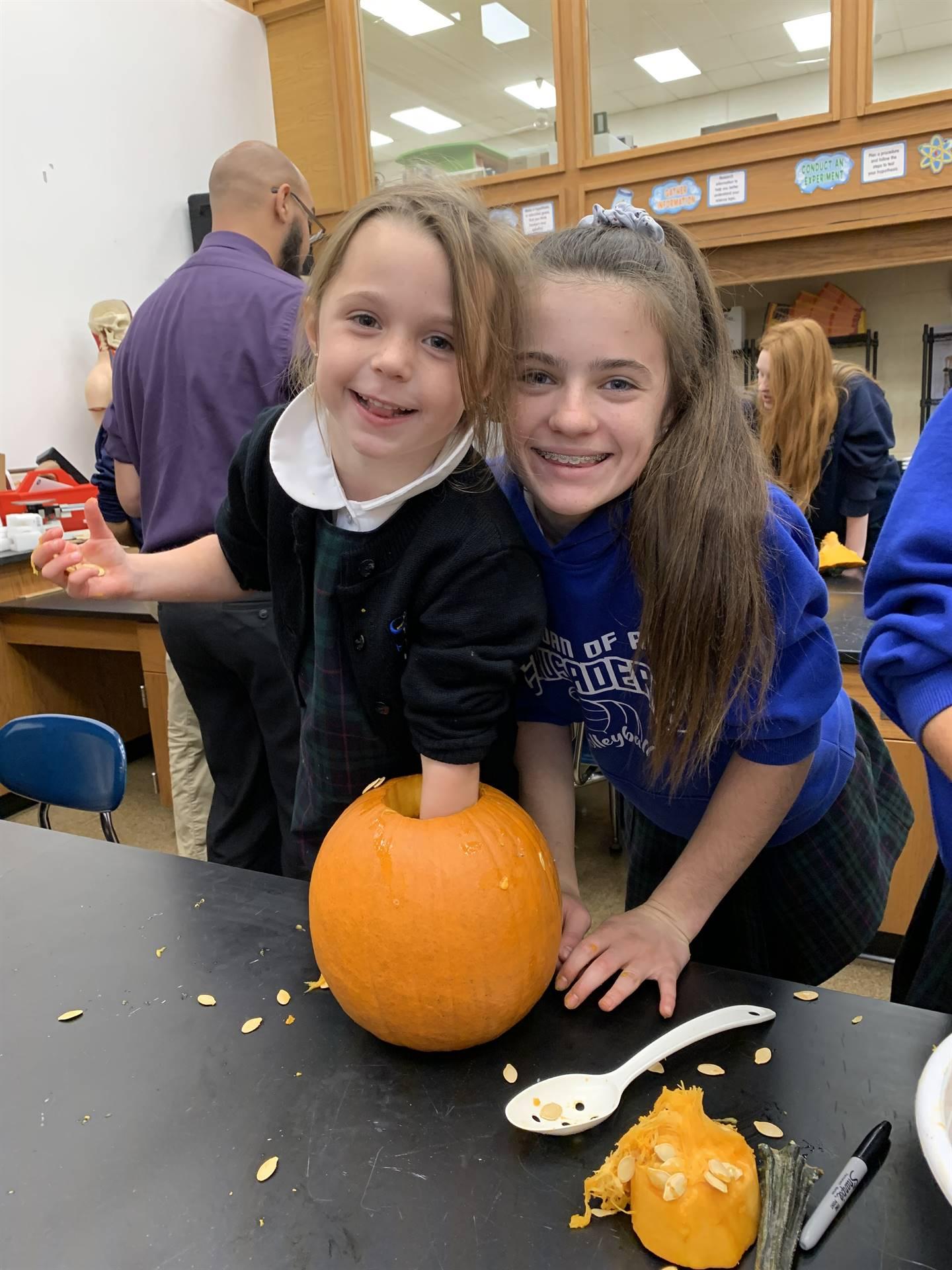 Girls w/ pumpkin