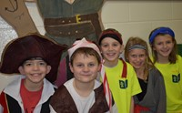 Five students dressed as pirates
